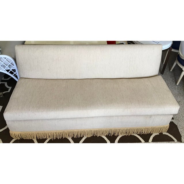 "Custom made Todd Hase designed 72"" Iris settee with gold bullion fringe. Upholstered in TH chenille textiles. Some wear,..."