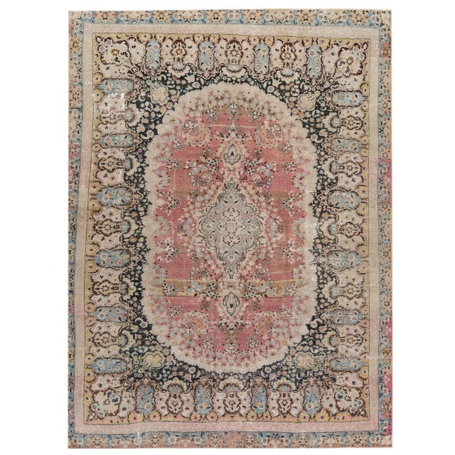 1950s Distressed Vintage Mashad Rug For Sale - Image 5 of 5