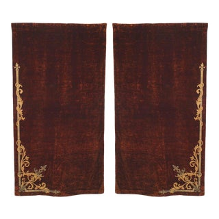 Brown Velvet Metallic Embroidered Drapes - a Pair For Sale
