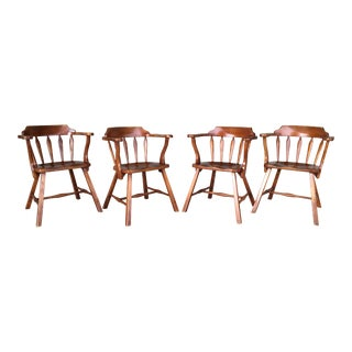 Vintage Cushman Nantucket Round Arm Chairs - Set of 4 For Sale