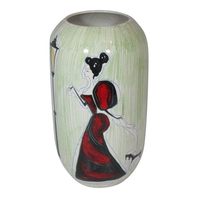 Vintage Italian Hand Painted Vase For Sale