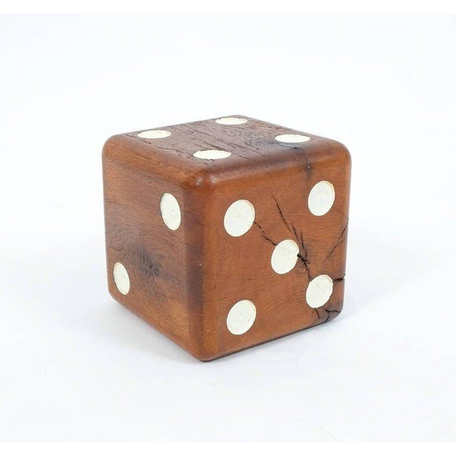 Nice 6.7 inch wooden Mid-Century dice with en-carved and lacquered pips. Good condition. Shipping is complimentary.