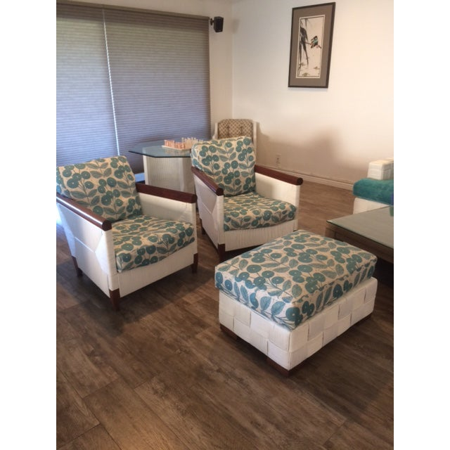 Donghia Block Island 2 Armchairs and Ottoman W/New Goose Down Pillows For Sale - Image 3 of 8