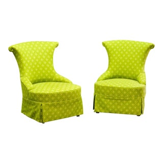 Fine pair of French Design Napoleon III Style Lime Green Boudoir / Slipper Chairs, 1900s