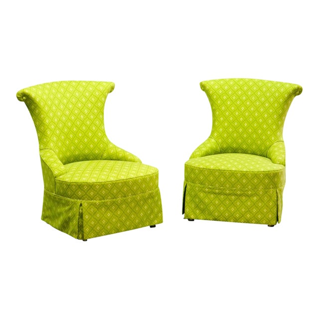 Fine pair of French Design Napoleon III Style Lime Green Boudoir / Slipper Chairs, 1900s For Sale