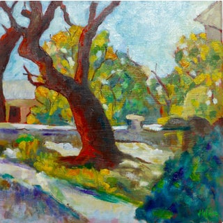 Impressionist French Garden Oil Painting by Martha Holden For Sale