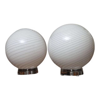 1970s Mid-Century Modern Vetri Murano Large Glass & Lucite Globe Table Lamps - a Pair For Sale