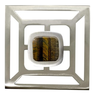 Addison Weeks Benson Pull with Backplate, Brushed Nickel & Tigers Eye For Sale