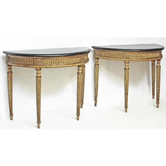 Louis XVI Rare Pair of Italian Neoclassical Console Tables For Sale - Image 3 of 7