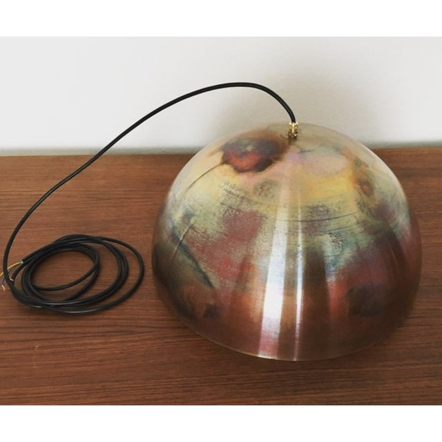 Copper Mid-Century Modern Patinated Copper Dome Pendant Lamp by Beisl For Sale - Image 8 of 9