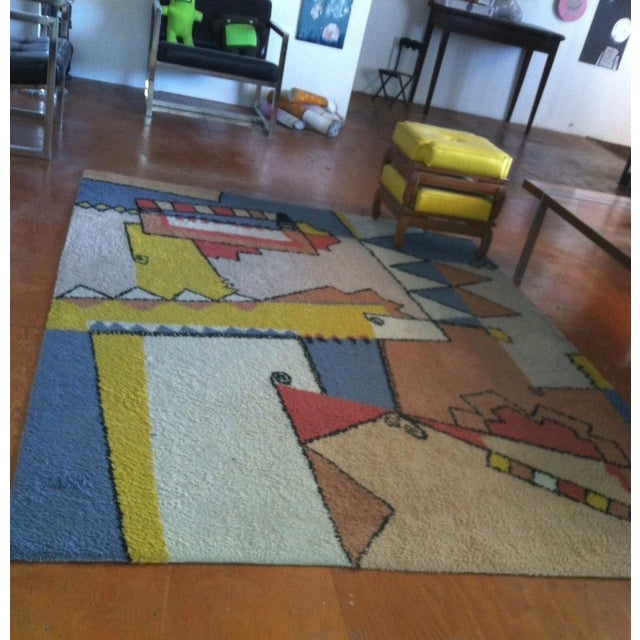 "Vintage Mid-Century Abstract Area Rug - 7'6""x5'5"" For Sale - Image 4 of 8"