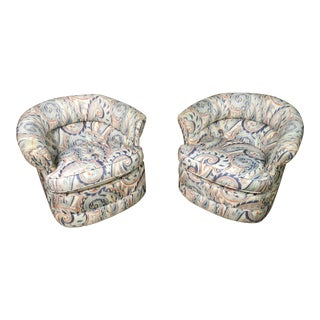1990s Vintage Custom Sculptural Swivel Club Chairs- A Pair For Sale