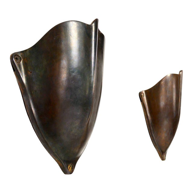 Pair of Brass Shield Shaped Wall Sconces For Sale