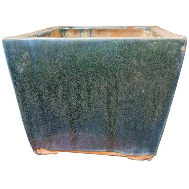 Blue and Green Glazed 20th Century Square Planter For Sale - Image 4 of 6