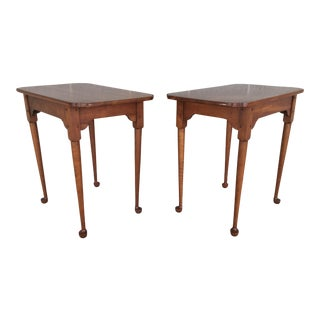Porringer Top Cherry Wood Tea Tables - a Pair