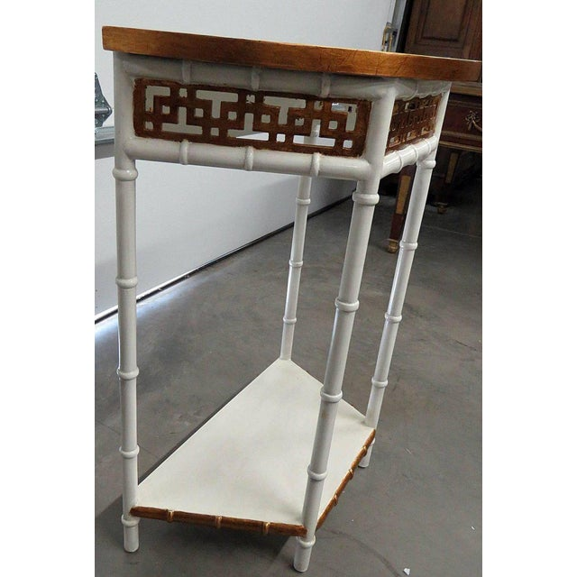 Wood Asian Modern Design Demilune Console Table For Sale - Image 7 of 9