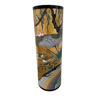 Vintage Mid-Century Gilded Cylindrical Chinoiserie Pedestal For Sale