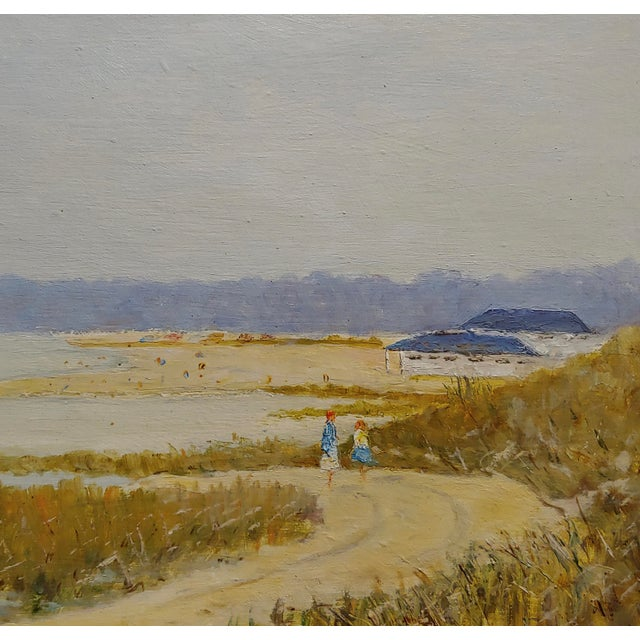 Ralph Arthur Lyle -Walking Trail on a California Beach Landscape -Oil Painting For Sale - Image 4 of 9
