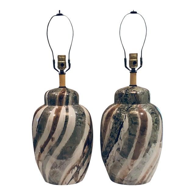 1970s Mid Century Porcelain Lamps - a Pair For Sale