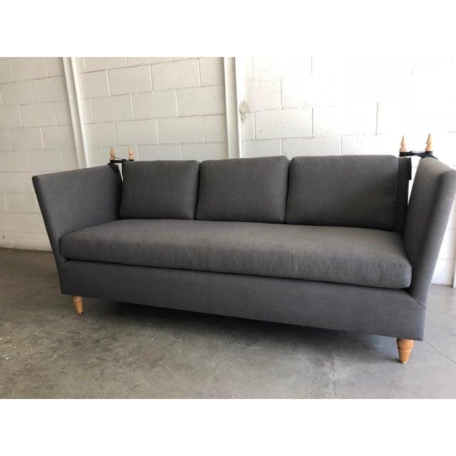 Animal Skin Modern Knole Style White Oak & Leather Tassels Sofa For Sale - Image 7 of 7