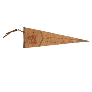 Vintage 1939 Grand Coulee Dam Leather Flag Pennant