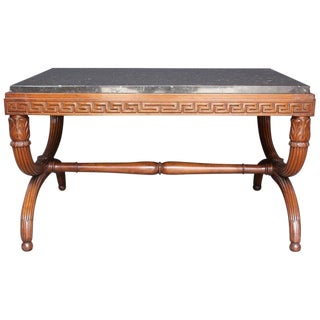 19th Century French Empire Carved Mahogany and Marble Top Low Table For Sale