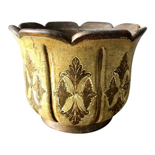 Vintage Florentine Italian Pottery Flower Pot For Sale