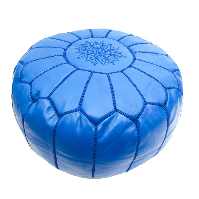 Atlas Blue Leather Pouf - Image 2 of 4