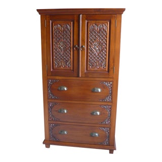Contemporary Asian Hand-Carved Indonesian Teak Dresser For Sale