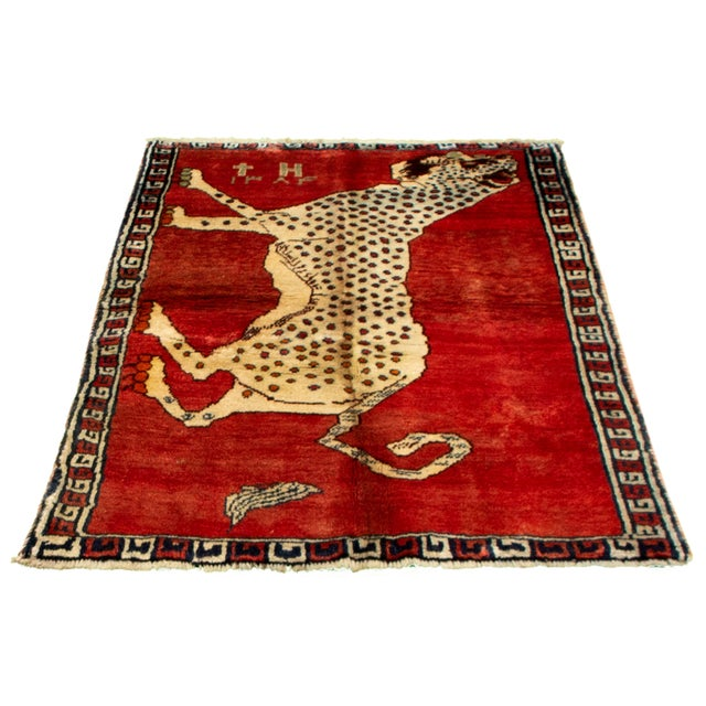 Textile 1970s Tiger Motif Handmade Wool Rug-3′8″ × 4′ For Sale - Image 7 of 9
