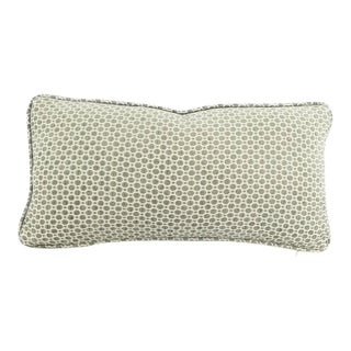"""Gray Aqua Geometric Chenille Pattern With Self-Welt Pillow Cover - 10"""" X 20"""" For Sale"""