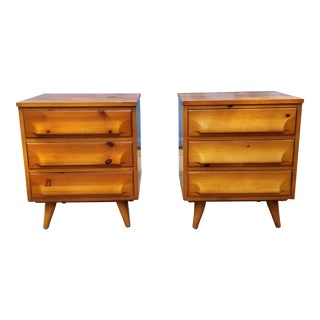 Mid-Century Hand-Burnished Pine Nightstands - a Pair For Sale