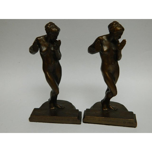 Figurative Harriet Whitney Frishmuth Bronze Sculpture Female Figure Bookends - a Pair For Sale - Image 3 of 13