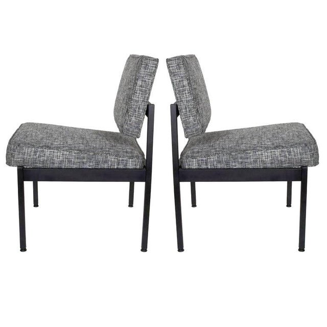 Black Mid-Century Modern Industrial Tweed Chair in the Style of Knoll For Sale - Image 8 of 10