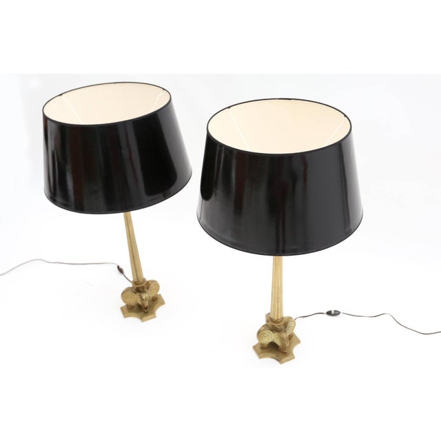 Maison Jansen Style Brass Hollywood Regency Lamps For Sale - Image 4 of 7