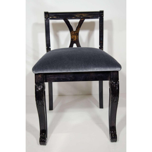 Art Deco Art Deco Stool With Low Back in Ebonized Walnut and Mohair For Sale - Image 3 of 9