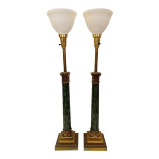 Vintage Stiffel Faux Green Marble Column Table Lamps - a Pair
