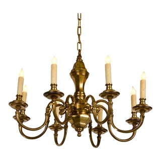 1920s Holland Eight Arm Brass Chandelier For Sale