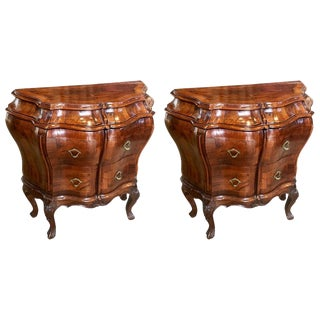 Pair of Mid-Century Italian Figured Walnut Bedside Commodes