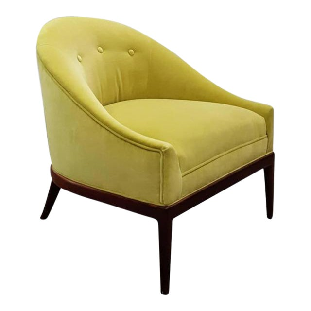 1960s Chartruese Velvet Slipper Chair - Image 1 of 7