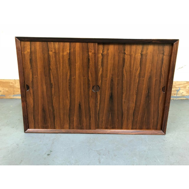 Brown 1960s Mid-Century Modern Poul Cadovius Rosewood Wall Unit Sliding Door Cabinet For Sale - Image 8 of 8