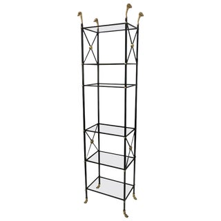 Regency Ebonized Iron and Brass Bookcase / Etagere For Sale