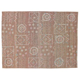 Boho Chic Vintage Embroidered Suzani Kilim Rug in Soft Pastel Colors - 9′3″ × 12′5″ For Sale