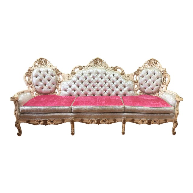 Boho Chic Rococo French Boudoir Parlor Sofa For Sale