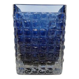 Mid Century Smålandshyttan Blue Glass Vase Josef Schott For Sale