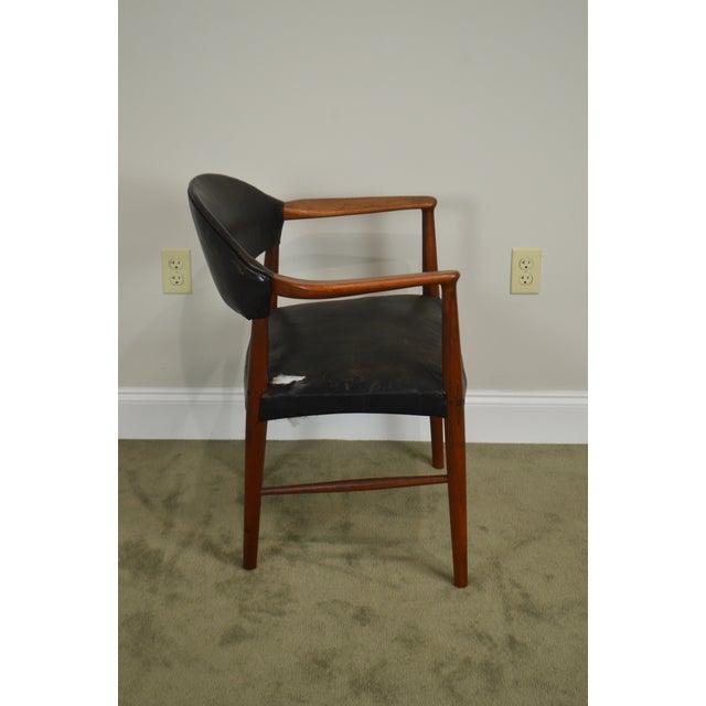Danish Modern Danish Modern Teak & Black Leather Vintage Arm Chair For Sale - Image 3 of 13