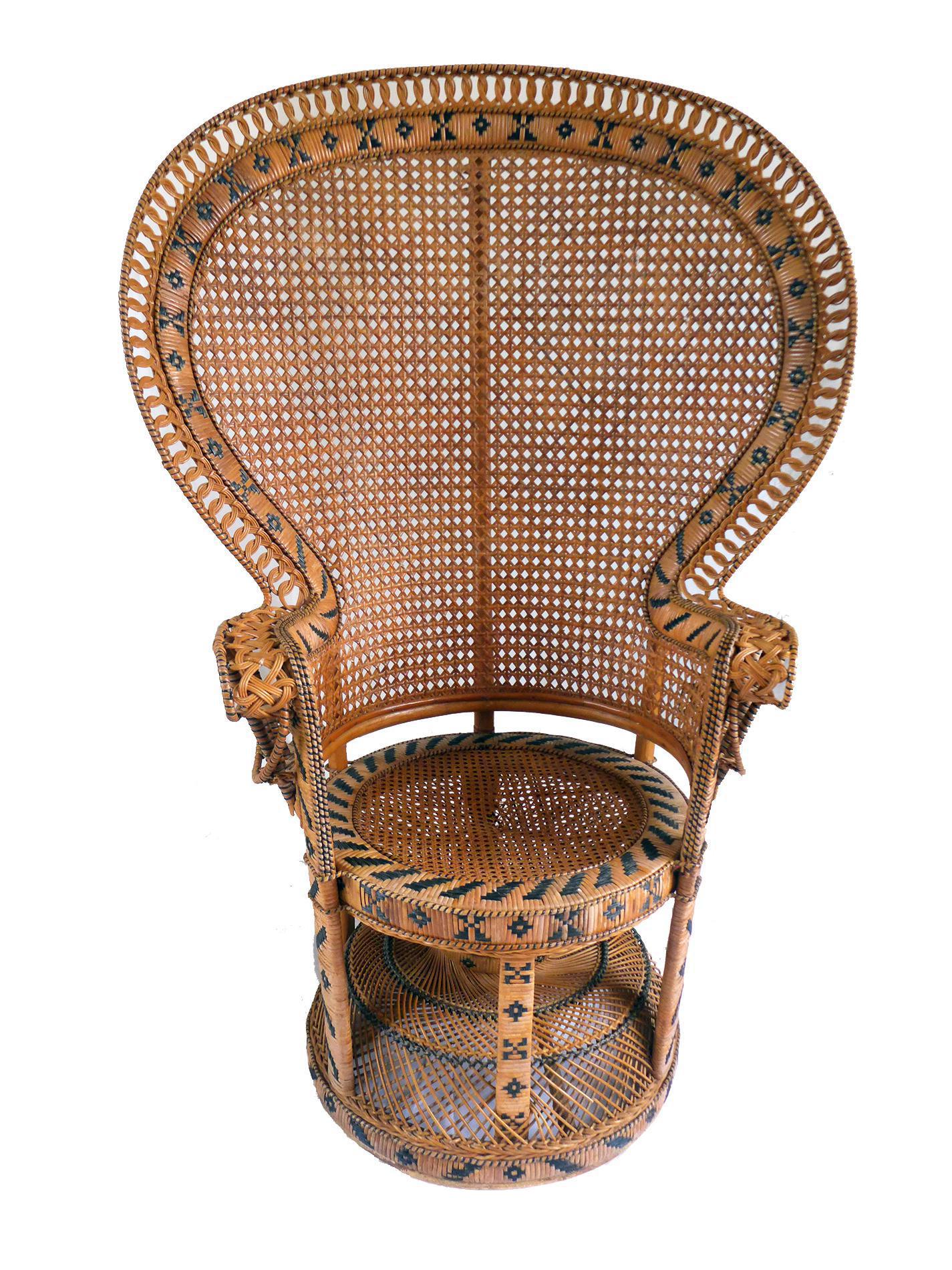 Vintage High Back Fan Peacock Rattan Chair