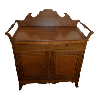 1880s Traditional Oak Dry Sink With Towel Bars For Sale