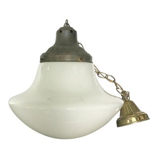 1940's Industrial Schoolhouse Milk Glass Pendant Light For Sale