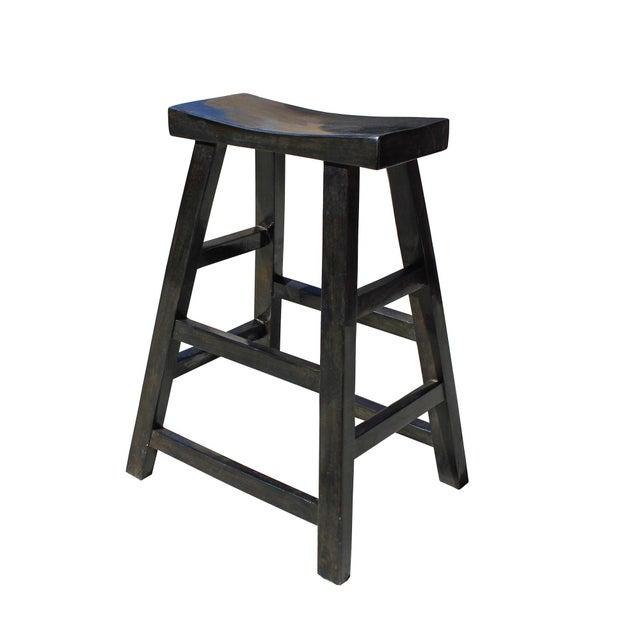 Simple Distressed Semi Gloss Black Tall Wood Stool Bar Stool For Sale - Image 4 of 7